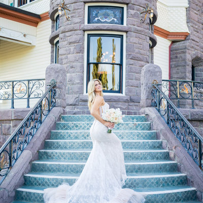 Newhall Mansion Bride on the Steps