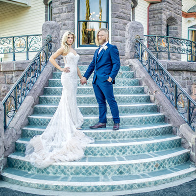 A Couple on the Steps at a Newhall Mansion Wedding