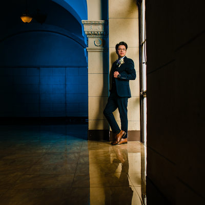 Majestic Downtown Wedding Groom Picture