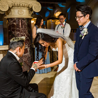 Tea Ceremony with Parents at Majestic Downtown Wedding