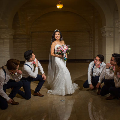 Groomsmen with bride at Majestic Downtown Wedding