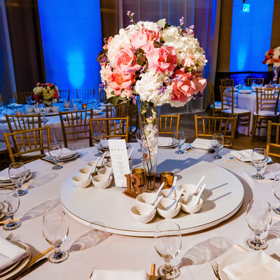 Centerpieces at Majestic Downtown Wedding