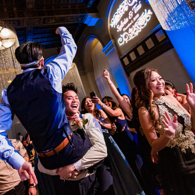 Dancing Groom at Majestic Downtown Wedding