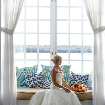 Bride Sitting at Portofino Hotel in Redondo Beach