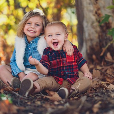 Kids Smiling for Family Portraits