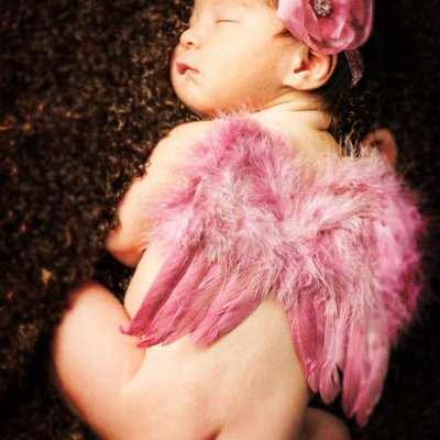 Newborn Photo with Angel Wings