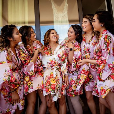 Grand Solmar Land's End Resort Wedding: Bride Laughing with Bridesmaids
