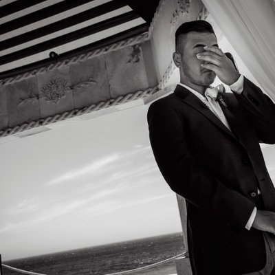 Grand Solmar Land's End Resort Wedding: Groom Crying when he sees bride at altar