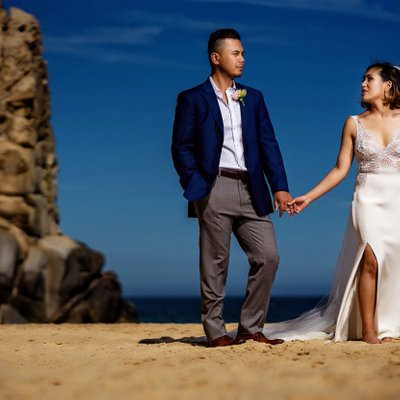 Grand Solmar Land's End Resort Wedding: Couple Posing by Cliffs