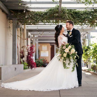Callaway Winery Wedding: Bride and Groom Posing after First Look