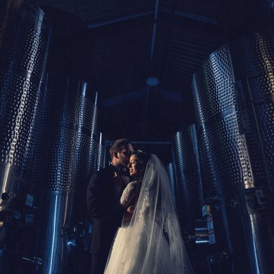 Callaway Winery Wedding:Bride and Groom Posing in Barrell Room