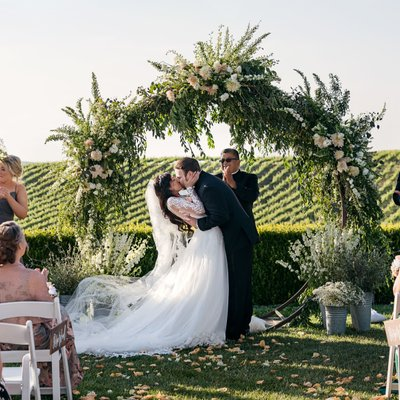 Callaway Winery Wedding: First Kiss