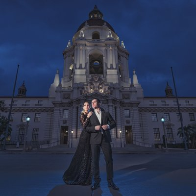 Pasadena Engagement Session at Night