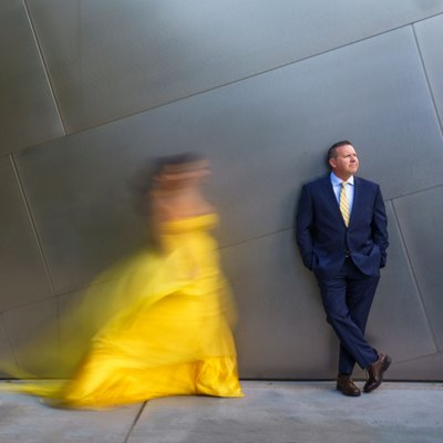 Walt Disney Concert Hall Engagement Session Yellow Dress