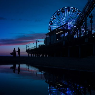 Evening Engagement Session at Santa Monica Pier