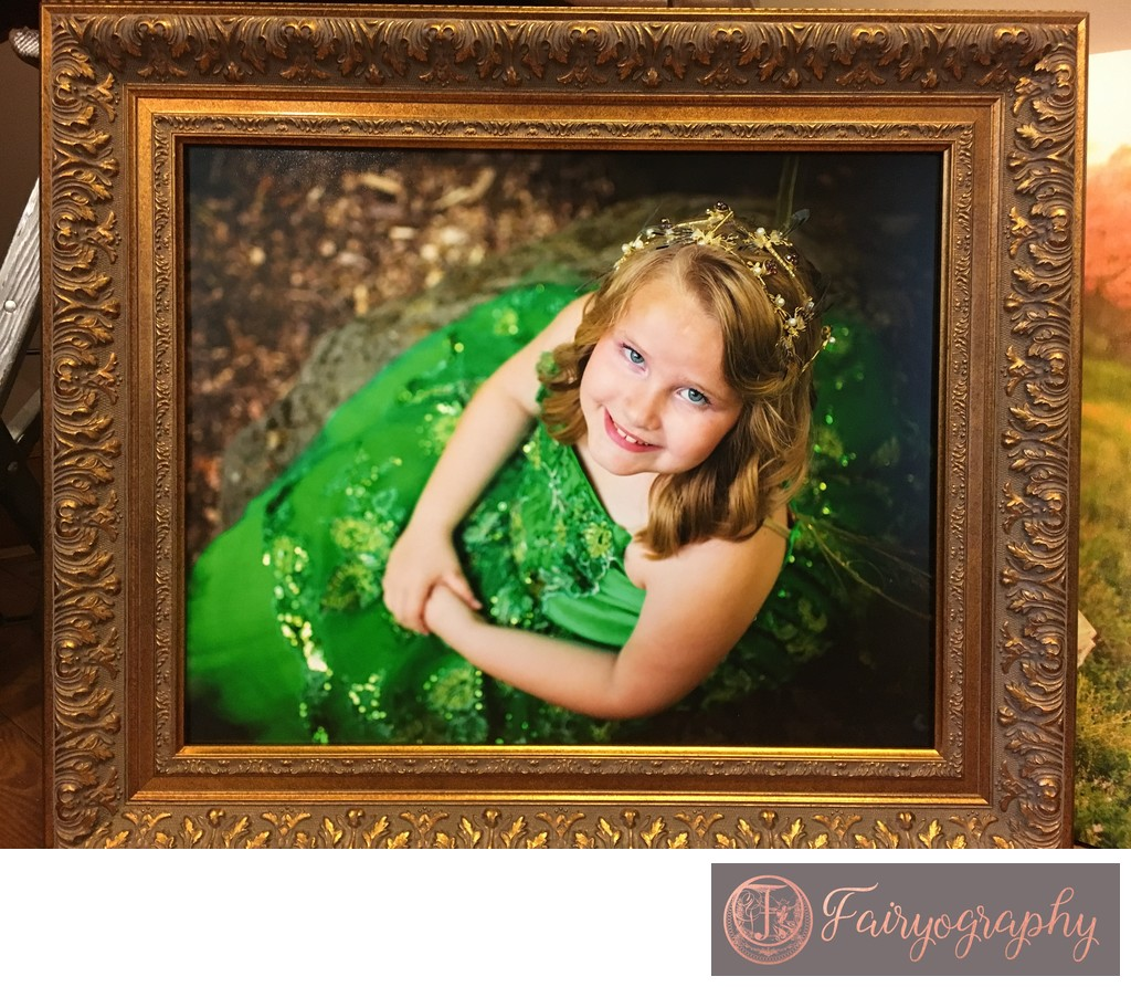 Gold framed fairy print in Athens GA