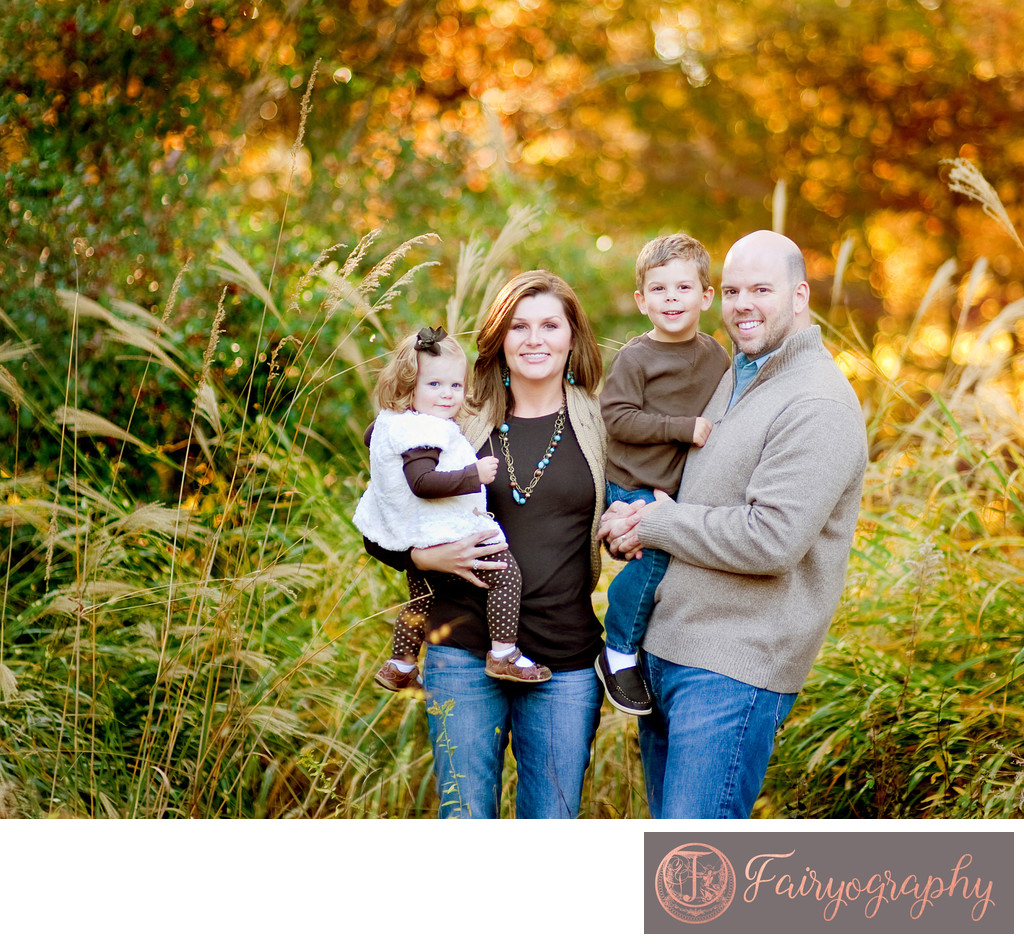 Fall family of four portraits in Oconee County Georgia