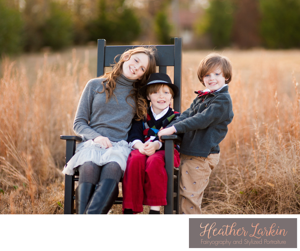Family pictures in fall at home