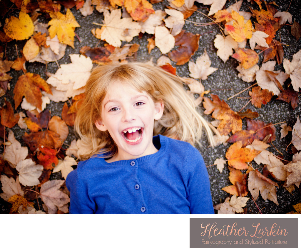 Fall leaves child photography in Watkinsville Georgia