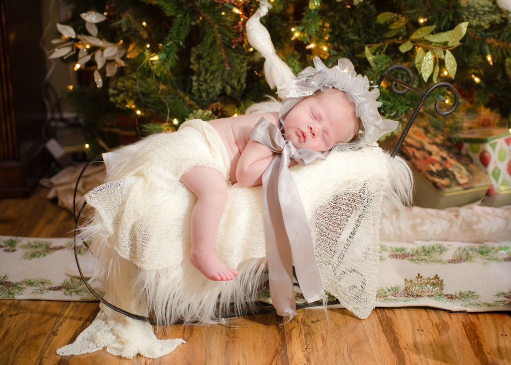 Newborn baby at Christmas