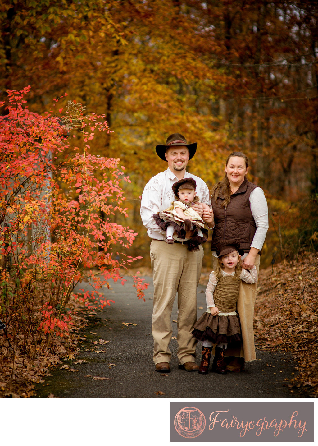 autumn family in the botanical gardens