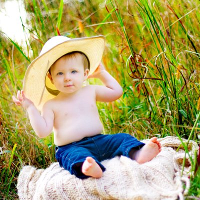 Eight month baby summer portraits in Athens Georgia