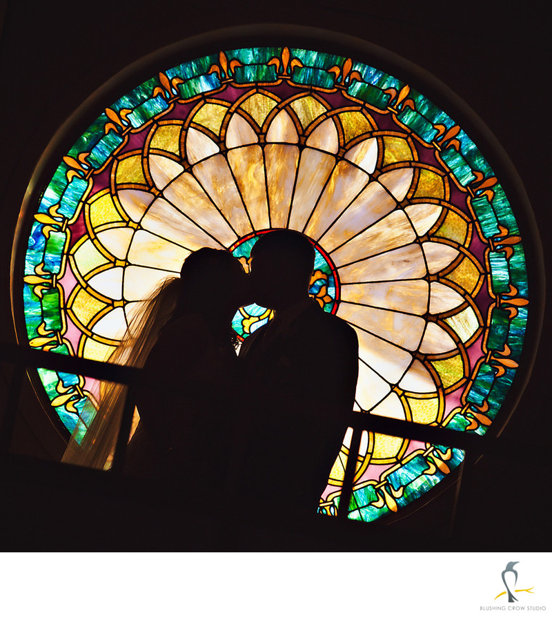 Couple's silhouette in St Barbara's Catholic Church
