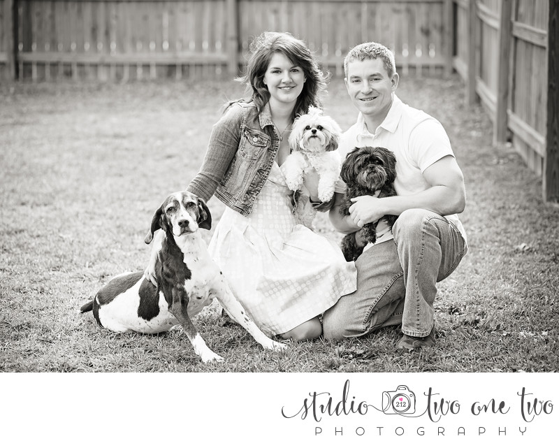 Engagement photos with dogs in Columbia SC