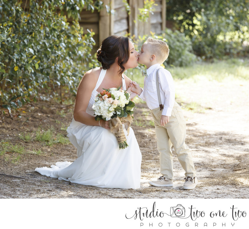 Ring bearer with bride at SC farm wedding