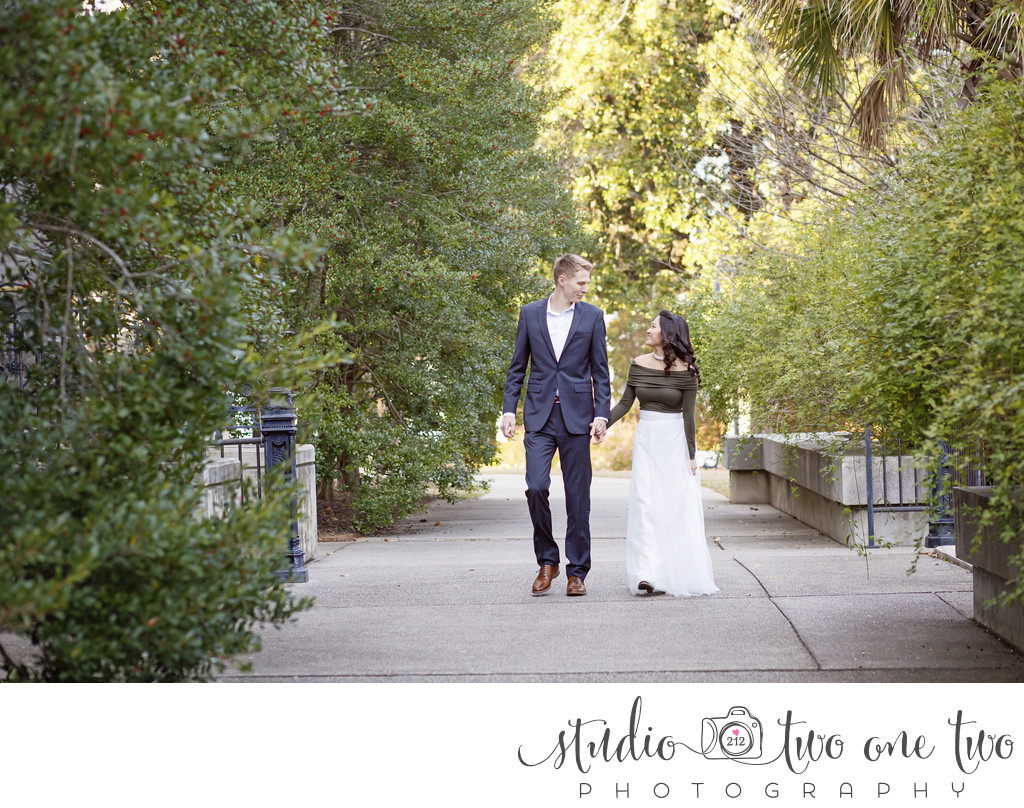 Engagement photos in Columbia SC at Statehouse grounds