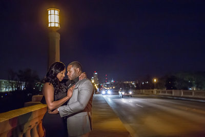 Gervais Street Bridge night engagement photo