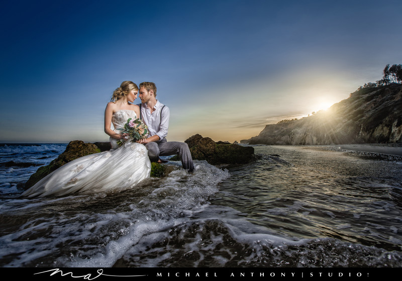 A Los Angeles Beach Wedding with a Trash the Dress Shoot.