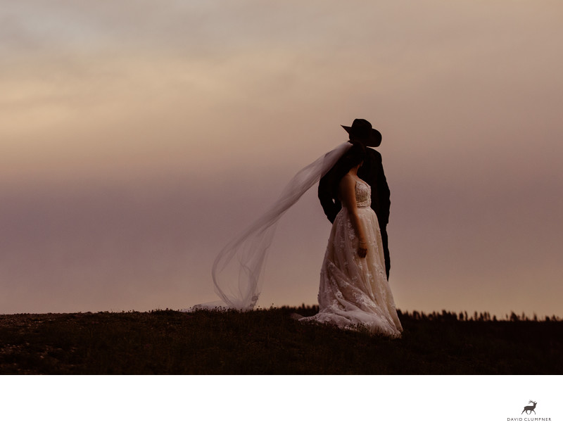 Bride and Groom near Yellowstone National Park