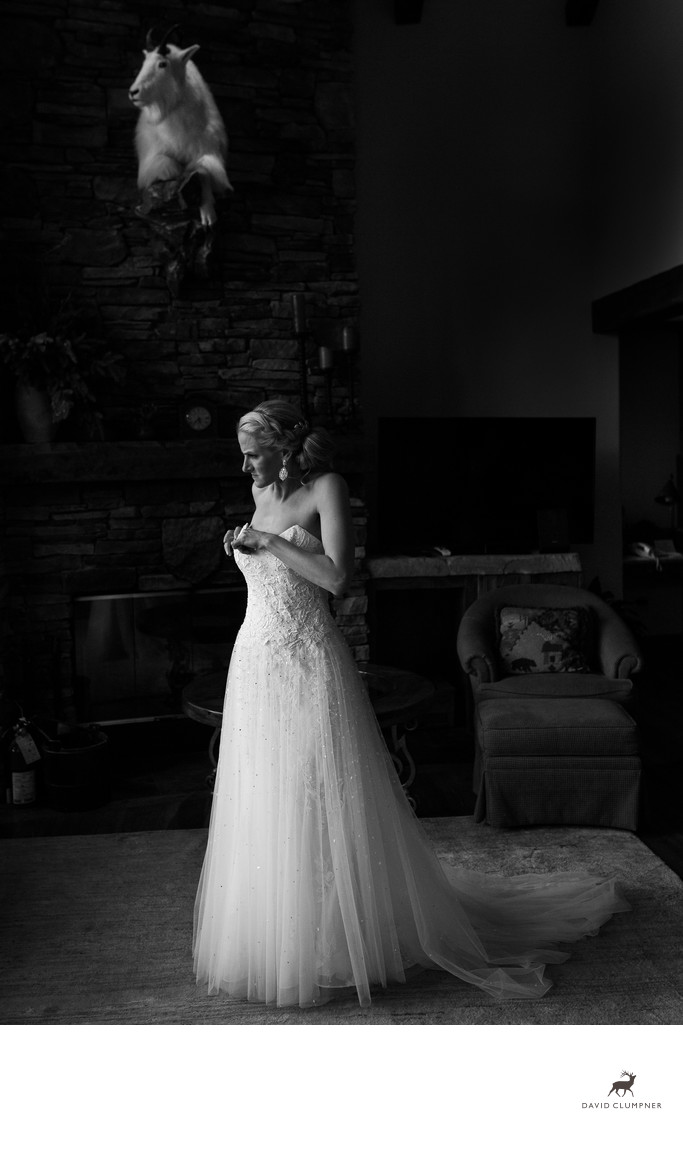 Bride Adjust Dress at Big Sky Resort Wedding