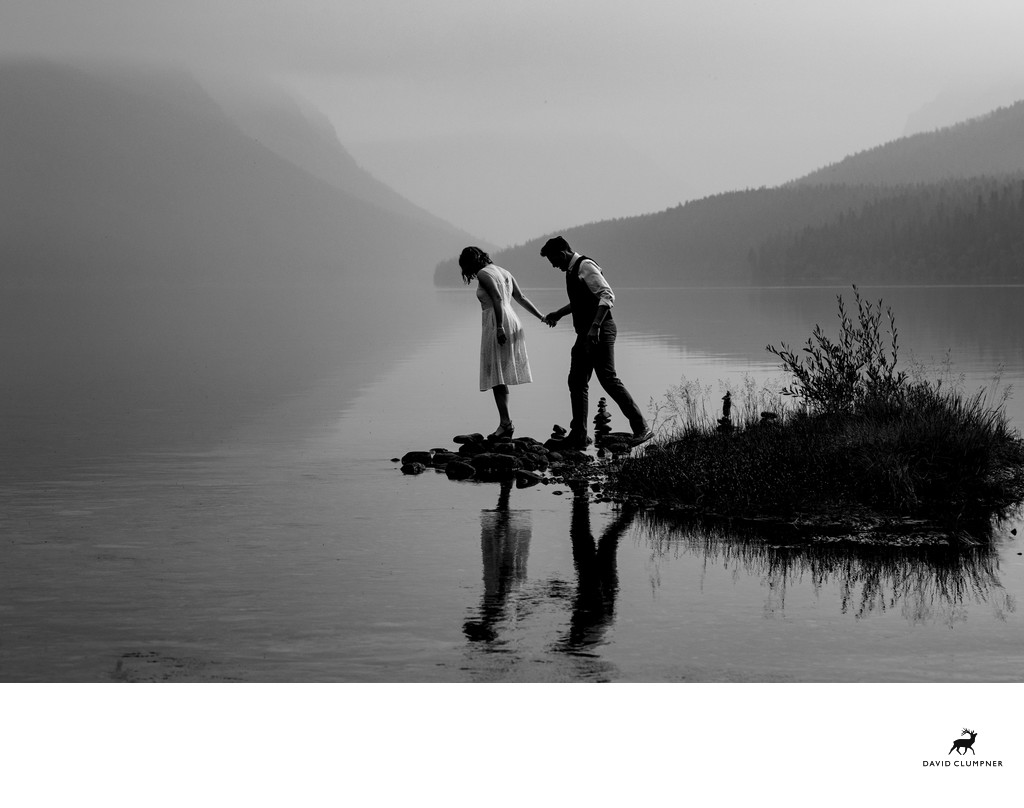 Wedding Couple at Bowman Lake in Glacier National Park
