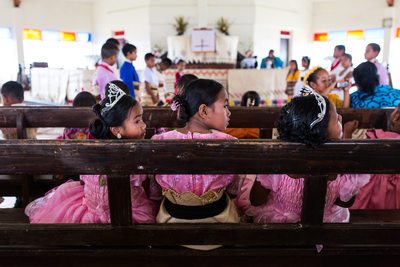 Three Girls in Church on White Sunday in Nomuka Tonga