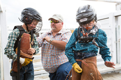 Young Boys Prepare for their Ride at the Wilsall Rodeo