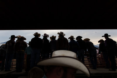 Cowboys watch Hamilton Rodeo in Montana