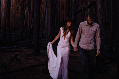 Forest fire wedding photo