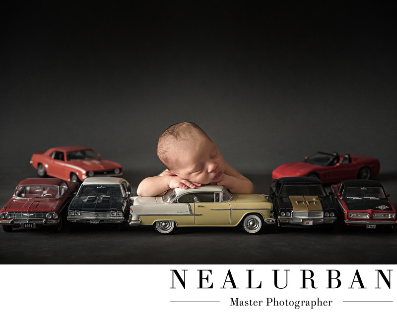 buffalo baby newborn photography vintage cars