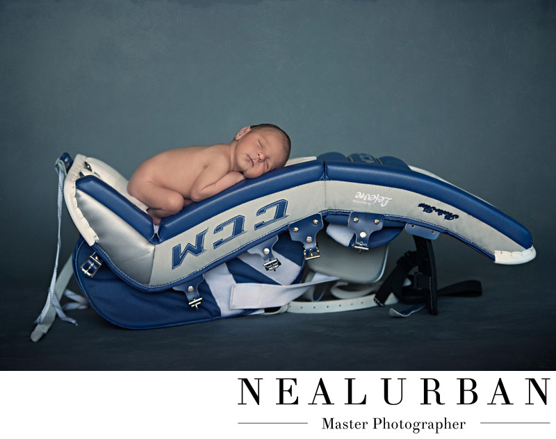 buffalo baby newborn hockey theme goalie pads