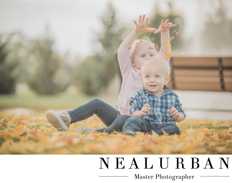 buffalo family photography fall leaves park kids fun
