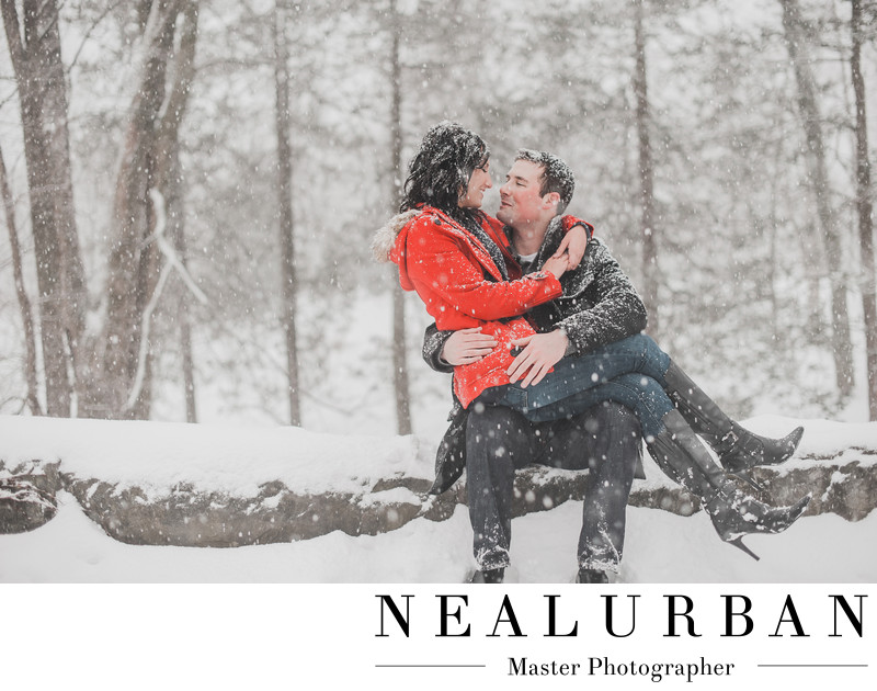 buffalo engagement photography in the snow at delaware park