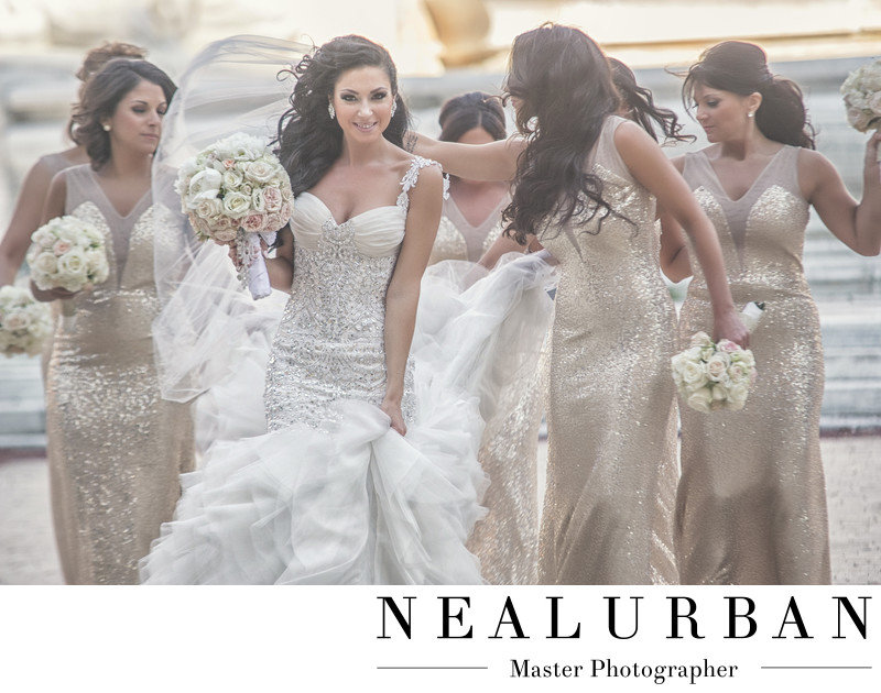 buffalo wedding bride and bridesmaids gold dresses city