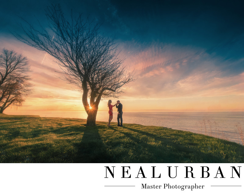 buffalo engagements photography sunset lake ontario tree