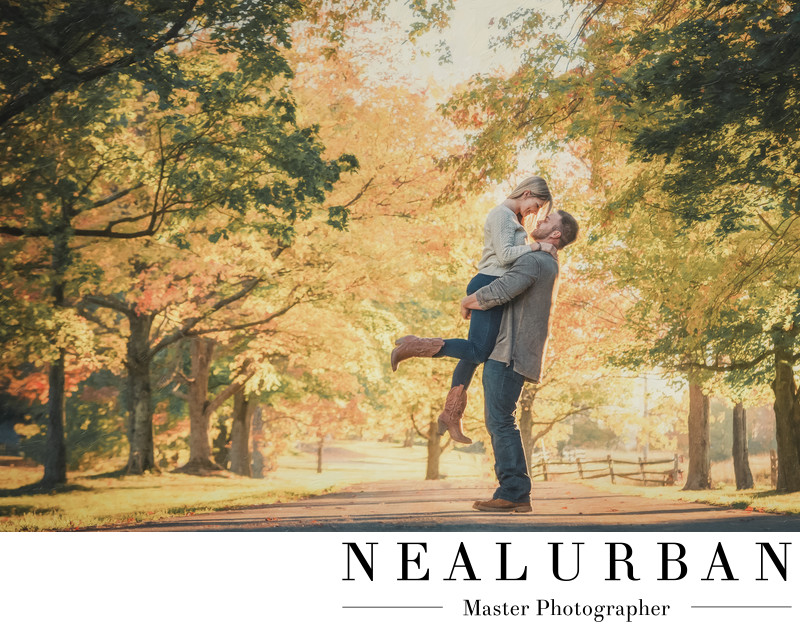 buffalo engagement in the fall at knox farm vintage