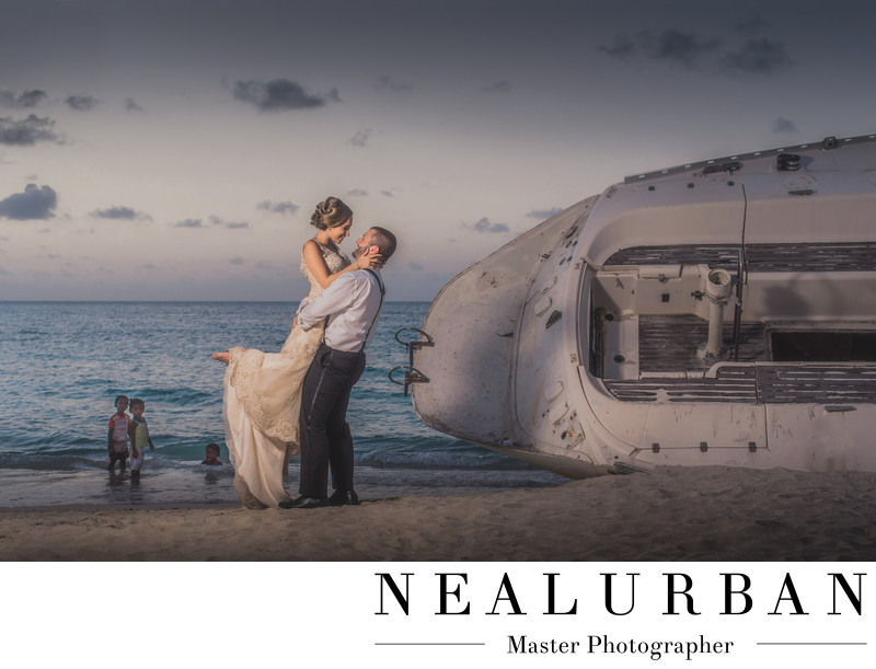 Sandals Antigua beach wedding photographers shipwreck