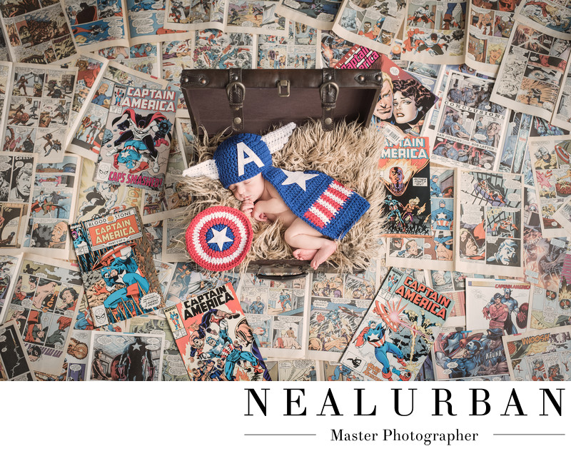 Superhero Newborn Session at Neal Urban Studio