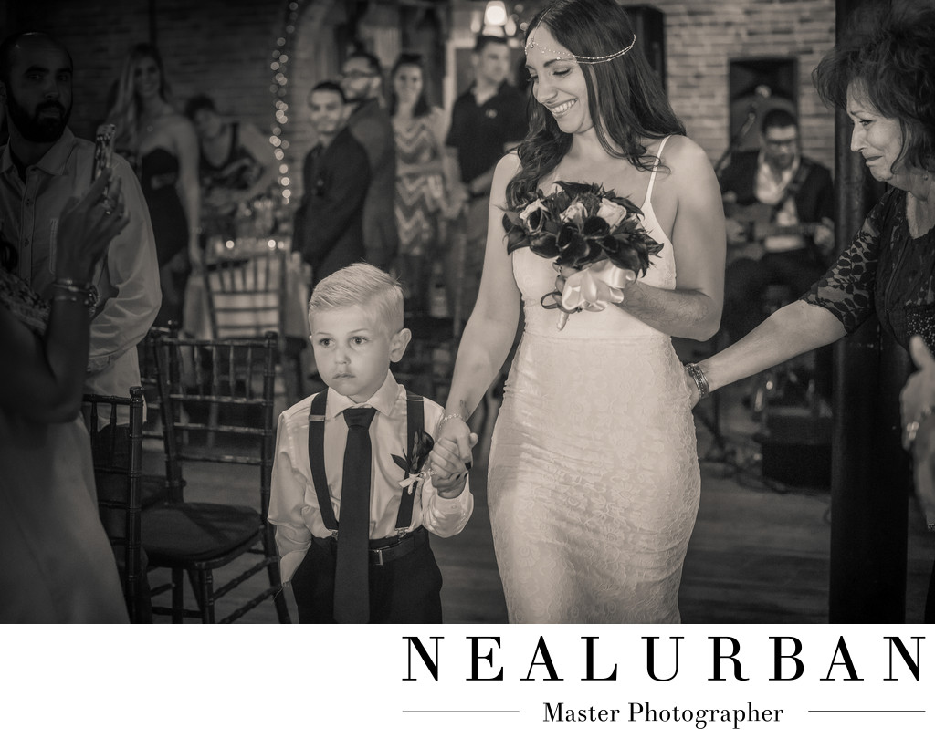 pearl street wedding ceremony bride and nephew aisle