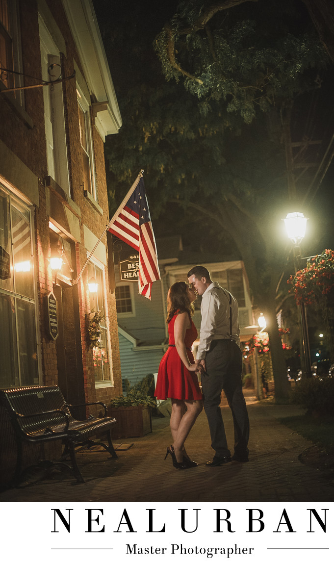 lewiston ny engagement photographers village at night